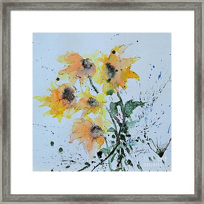 Sunflower- Flower Painting Framed Print by Ismeta Gruenwald
