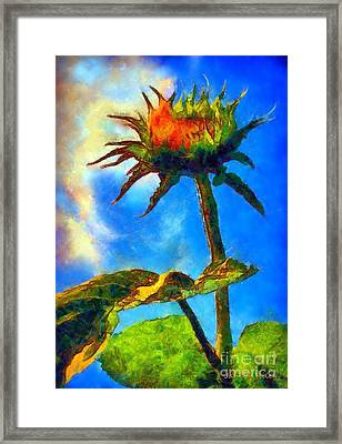Sunflower - It's A Glorious Day She Said. Framed Print by Janine Riley