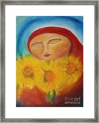 Sunflower Madonna Framed Print by Teresa Hutto