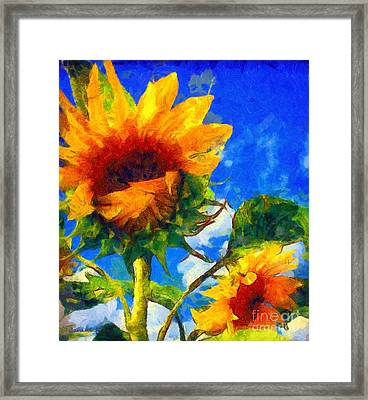 Sunflower - Oh I've Said Too Much Framed Print by Janine Riley