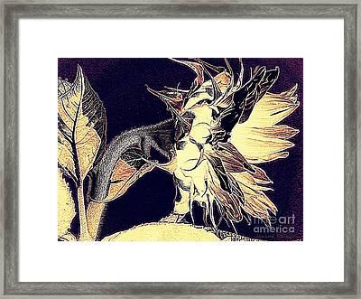 Sunflower - Tribal Harvest Framed Print by Janine Riley