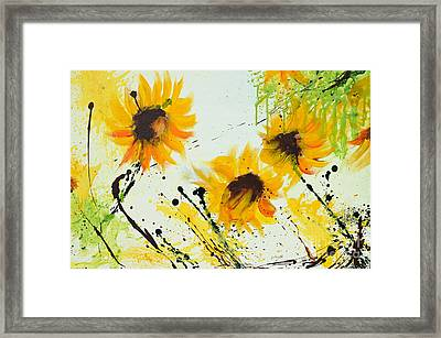 Sunflowers - Abstract Painting Framed Print by Ismeta Gruenwald