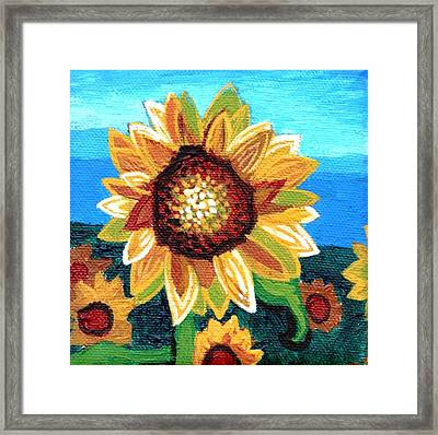 Sunflowers And Blue Sky Framed Print by Genevieve Esson