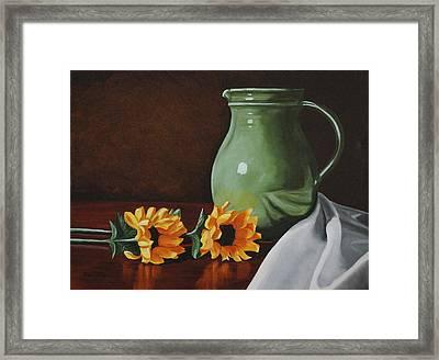 Sunflowers And Green Water Jug Framed Print by Daniel Kansky