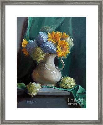 Sunflowers And Hydrangeas Framed Print by Viktoria K Majestic