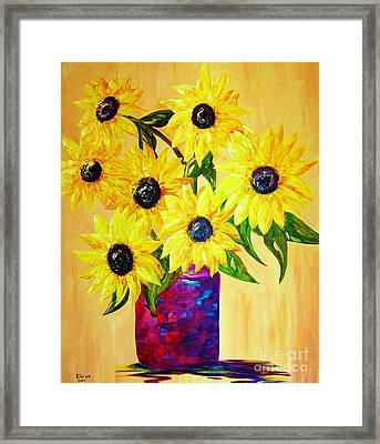 Sunflowers In A Red Pot Framed Print by Eloise Schneider