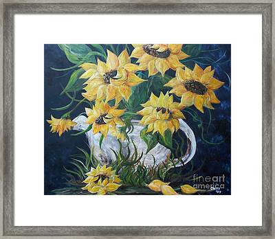 Sunflowers In An Antique Country Pot Framed Print by Eloise Schneider