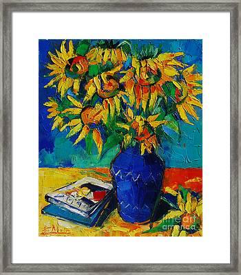 Sunflowers In Blue Vase Framed Print by Mona Edulesco