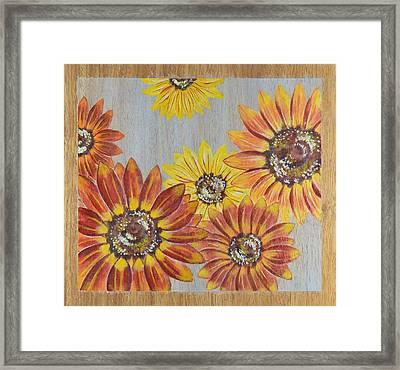 Sunflowers On Wood Panel II Framed Print by Elizabeth Golden