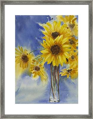 Sunflowers Picked Today Framed Print by Judy Loper