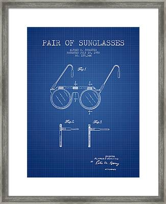 Sunglasses Patent From 1950 - Blueprint Framed Print by Aged Pixel