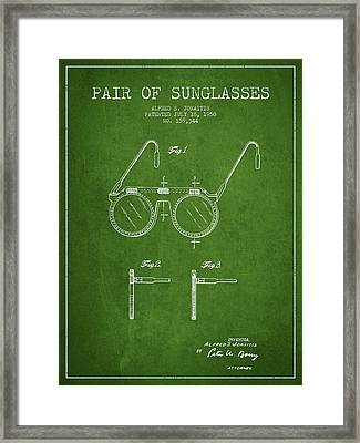 Sunglasses Patent From 1950 - Green Framed Print by Aged Pixel