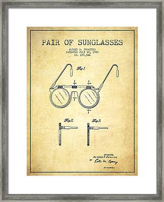 Sunglasses Patent From 1950 - Vintage Framed Print by Aged Pixel