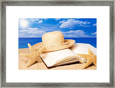 Sunhat In Sand Framed Print by Amanda And Christopher Elwell
