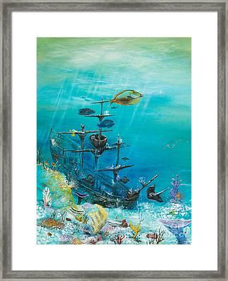 Sunken Ship Habitat Framed Print by John Garland  Tyson