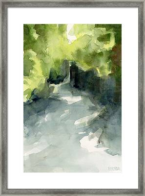 Sunlight And Foliage Conservatory Garden Central Park Watercolor Painting Framed Print by Beverly Brown