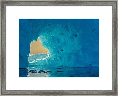 Sunlit Window - Greenland Iceberg Photograph Framed Print by Duane Miller