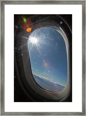 Sunlight Flare In Aircraft Window Framed Print by Jim West