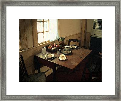Sunlight On Dining Table Framed Print by RC deWinter