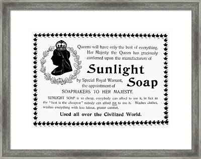 Sunlight Soap Ad, 1896 Framed Print by Granger