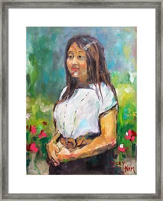 Sunni In Garden Framed Print by Becky Kim
