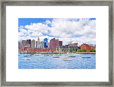 Sunny Afternoon On Boston Harbor Framed Print by Mark E Tisdale