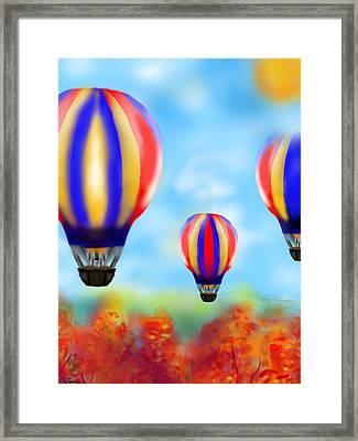 Sunny Balloon Ride Framed Print by Christine Fournier