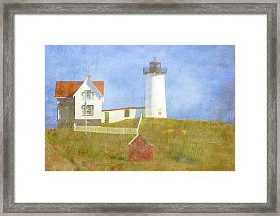 Sunny Day At Nubble Lighthouse Framed Print by Carol Leigh