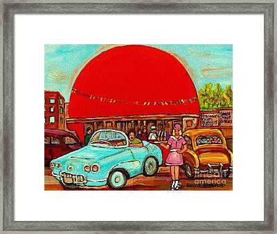 Sunny Day At The Big Orange Julep  Montreal Road Side Diner Carole Spandau Framed Print by Carole Spandau