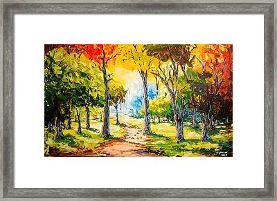 Sunny Day In The Park Framed Print by Evans Yegon