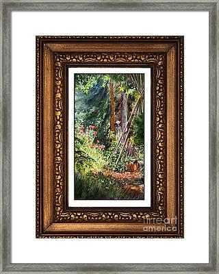 Sunny Garden In Vintage Frame Framed Print by Irina Sztukowski
