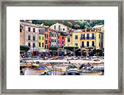 Sunny Portofino - Italy Framed Print by Linda  Parker