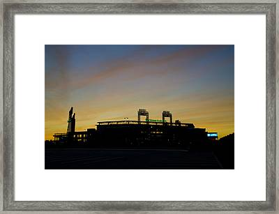 Sunrise At Citizens Bank Park Framed Print by Bill Cannon