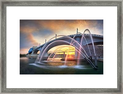 Sunrise At John Ross Landing Fountain Framed Print by Steven Llorca
