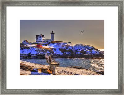Sunrise At Nubble Lighthouse - Cape Neddick - York Maine Framed Print by Joann Vitali