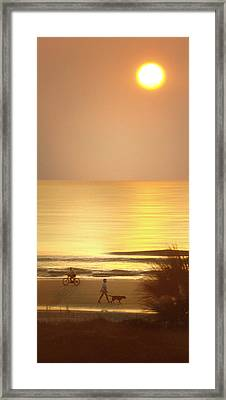 Sunrise At Topsail Island Panoramic Framed Print by Mike McGlothlen