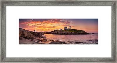 Sunrise Behind Cape Neddick  Framed Print by Scott Lynde