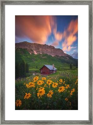 Sunrise Cabin Framed Print by Darren  White