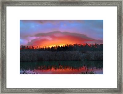 sunrise December 2014 over the creek of Enkoping Sweden Framed Print by Leif Sohlman