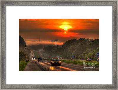 Sunrise The Way Home Interstate 20 Georgia Framed Print by Reid Callaway
