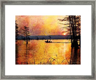 Sunrise Fishermen Heading For The Perfect Spot Framed Print by J Larry Walker