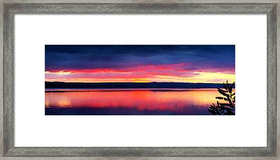 Sunrise In Cayuga Lake Ithaca New York Panoramic Photography Framed Print by Paul Ge