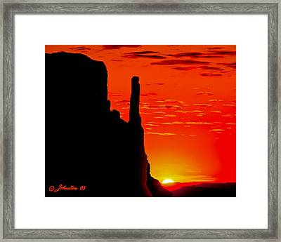 Sunrise In Monument Valley Framed Print by Bob and Nadine Johnston
