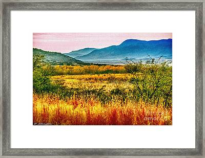 Sunrise In Verde Valley Arizona Framed Print by Bob and Nadine Johnston