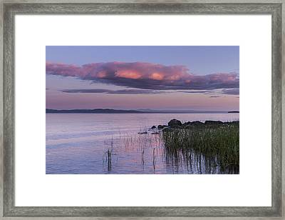 Sunrise Lake Champlain Shore Vermont Clouds Framed Print by Andy Gimino