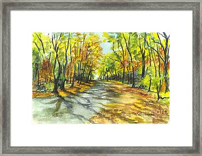 Sunrise On A Shady Autumn Lane Framed Print by Carol Wisniewski
