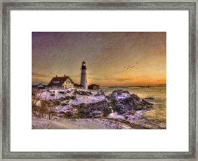 Sunrise On Cape Elizabeth - Portland Head Light - New England Lighthouses Framed Print by Joann Vitali