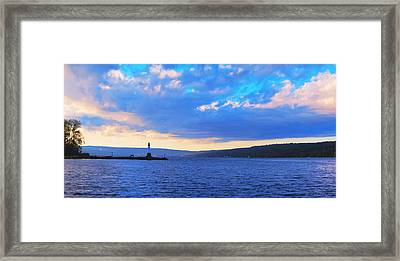Sunrise On Cayuga Lake Ithaca New York Panoramic Photography Framed Print by Paul Ge