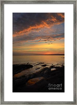 Sunrise On Lake Superior Framed Print by Jill Battaglia