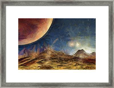 Sunrise On Space Framed Print by Ayse Deniz